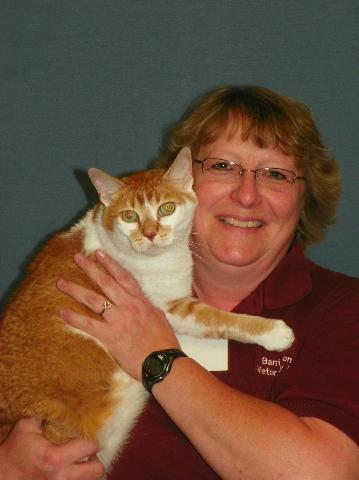 Team member Pam with a orange and white cat